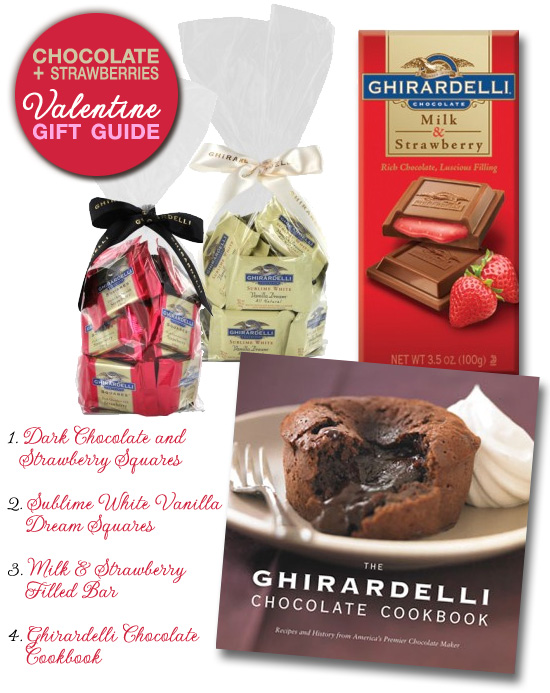 Ghirardelli® chocolate and strawberries valentine gift guide