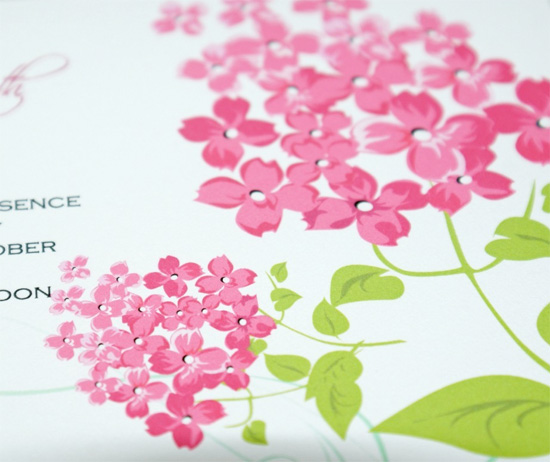 lilac flower wedding invitation