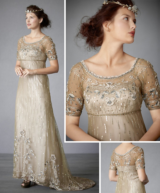 Bhldn 39 s winter wedding gown collection for Winter vintage wedding dresses