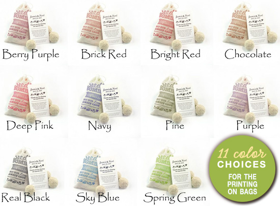 seed bomb favors in muslin bags - 11 color choices