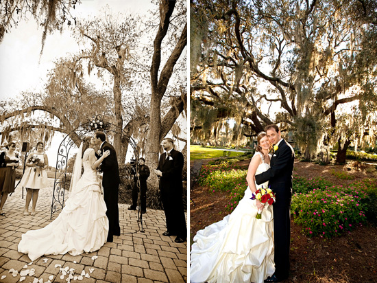 real wedding rustic red with lots of spanish moss