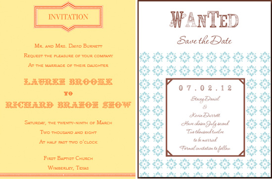 Western Wedding Invitation Wording: Western Themed Wedding Invitations