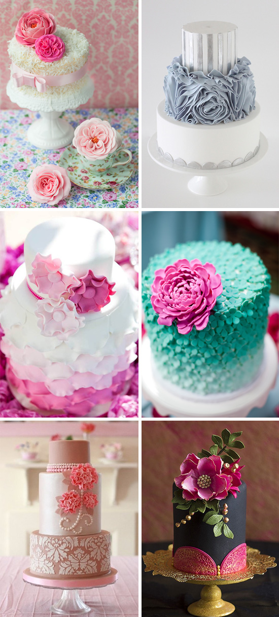 unique wedding cakes with stunning sugar flowers and ruffles