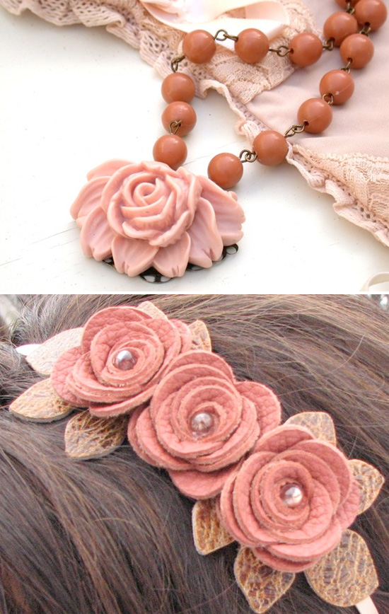 Color matching rosy peach necklace and rose headband - Matching colours with peach ...