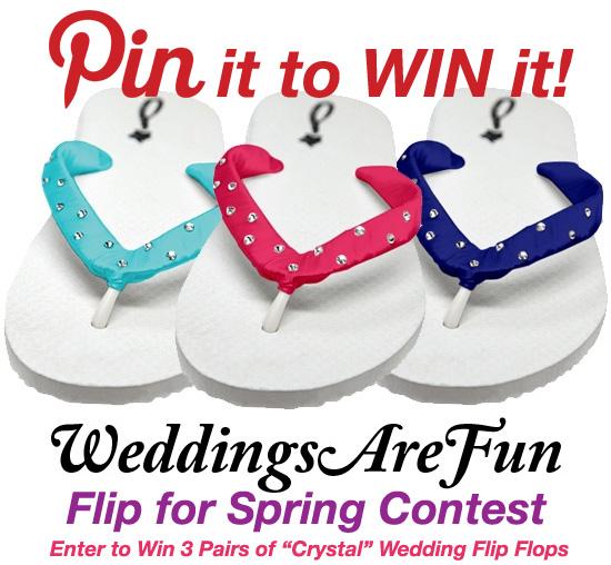 pin it to win it with www.WeddingsAreFun.com - 3 pairs of Swarovski Crystal Flip Flops