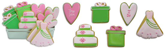pretty in pink wedding cookies