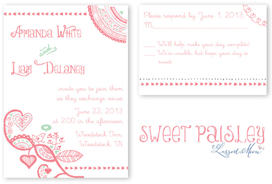 Paisley wedding invitation with hearts and love birds from Lasso'd Moon