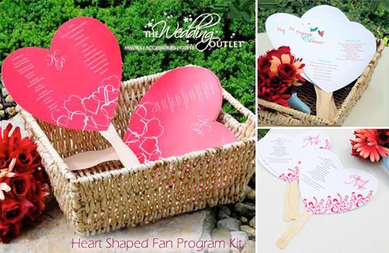 Wednesday Wedding Accessory Heart Shaped Fan Program Kits