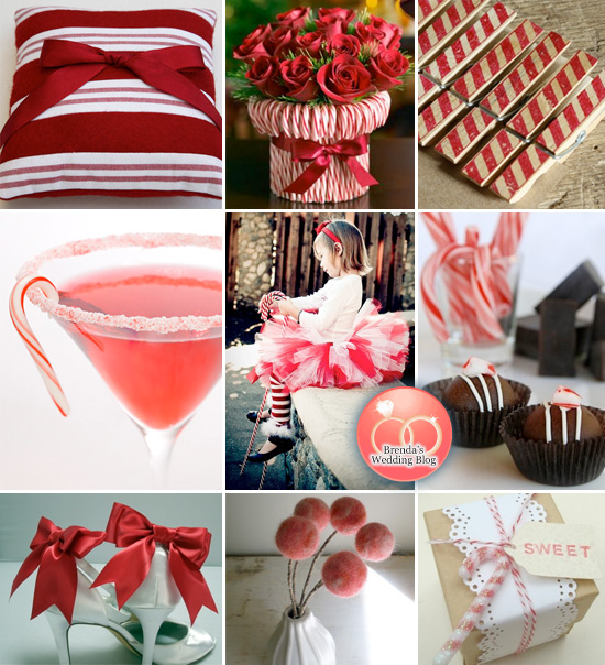 A Candy Cane Striped Holiday Wedding Inspiration Board
