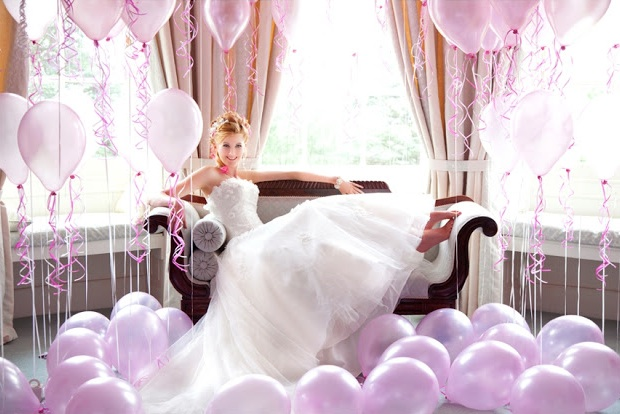 purple wedding balloons