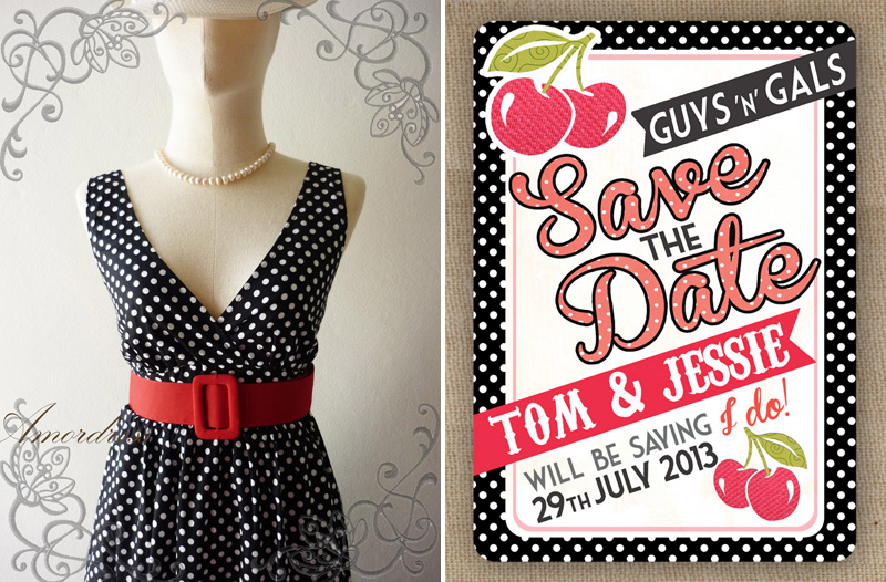 retro black and white dress with cherry save the date