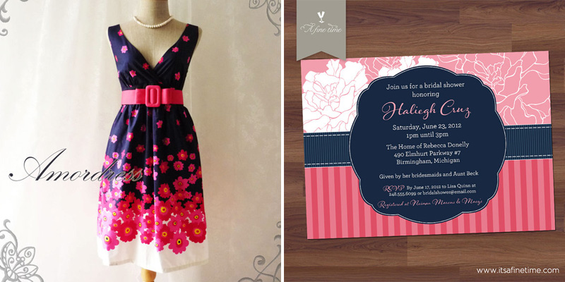 navy blue pink flowers dress and invitation
