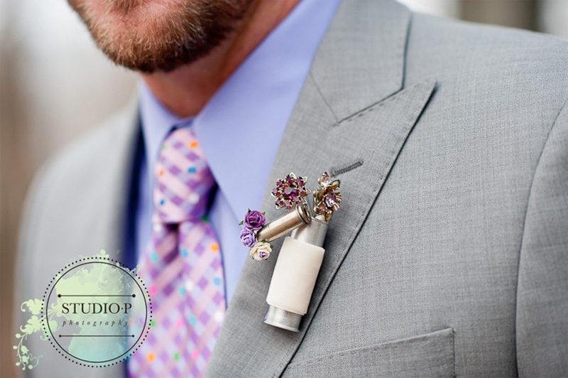 custom vintage brooch boutonniere for the groom