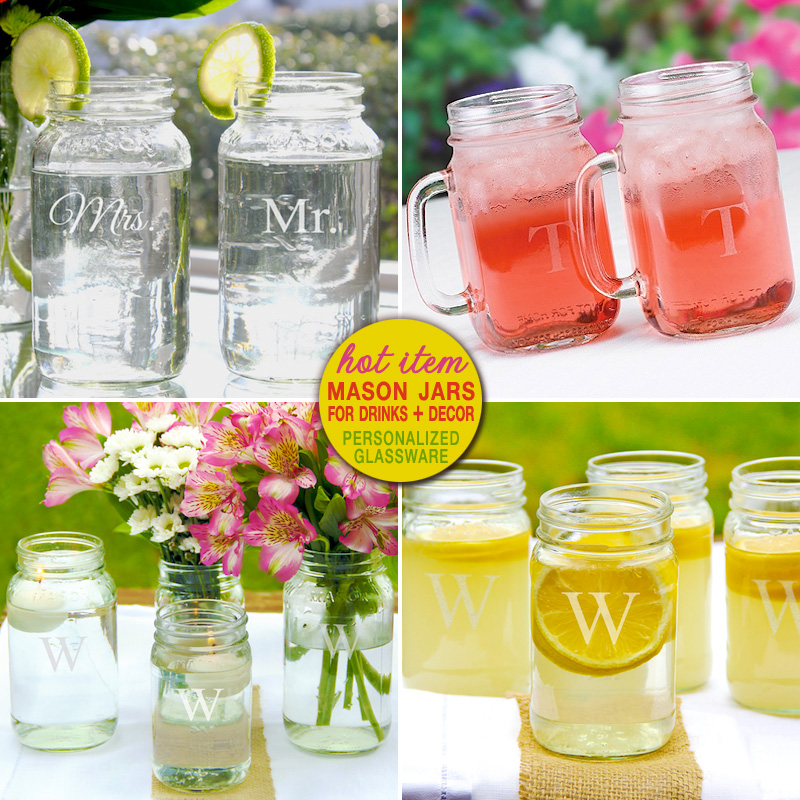 "personalized mason jars - makes fun ""rustic"" toasting flutes and beautiful vases 
