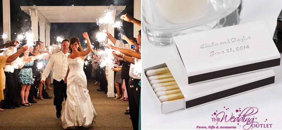 wedding sparklers with personalized matches from The Wedding Outlet