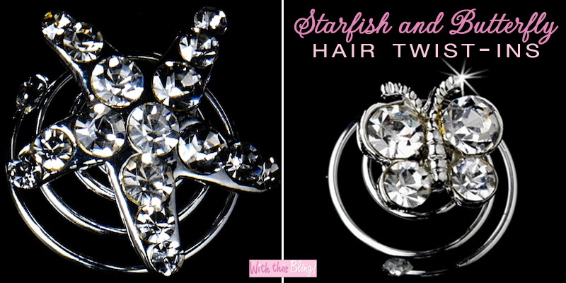 starfish and butterfly wedding hair twist ins from With This Bling