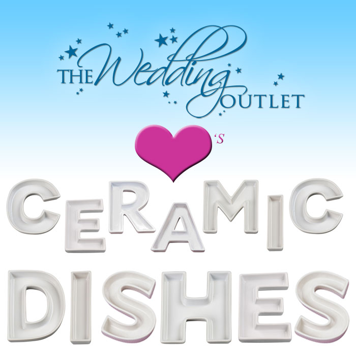 ceramic letter dishes for weddings from the wedding outlet