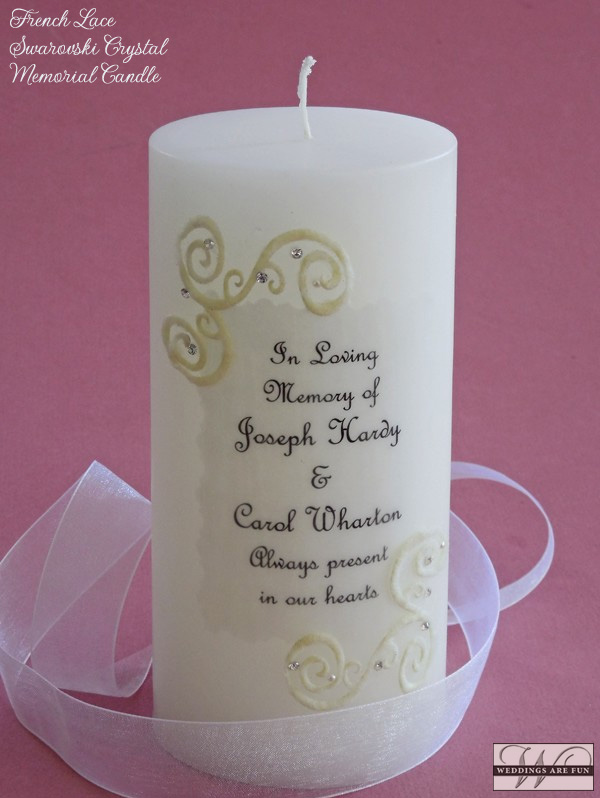 "Holds the names of up to 2 loved ones. Personalization includes:  ""In Loving Memory of Name(s) who  are  present in our hearts.""  Memorial candles also make nice gifts for family members to remember their loved ones."