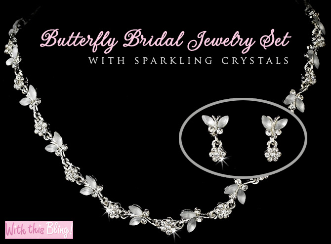 butterfly bridal jewelry wedding set
