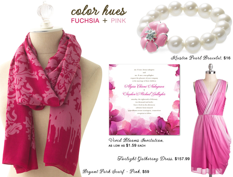 color hues palette of fuchsia and pink