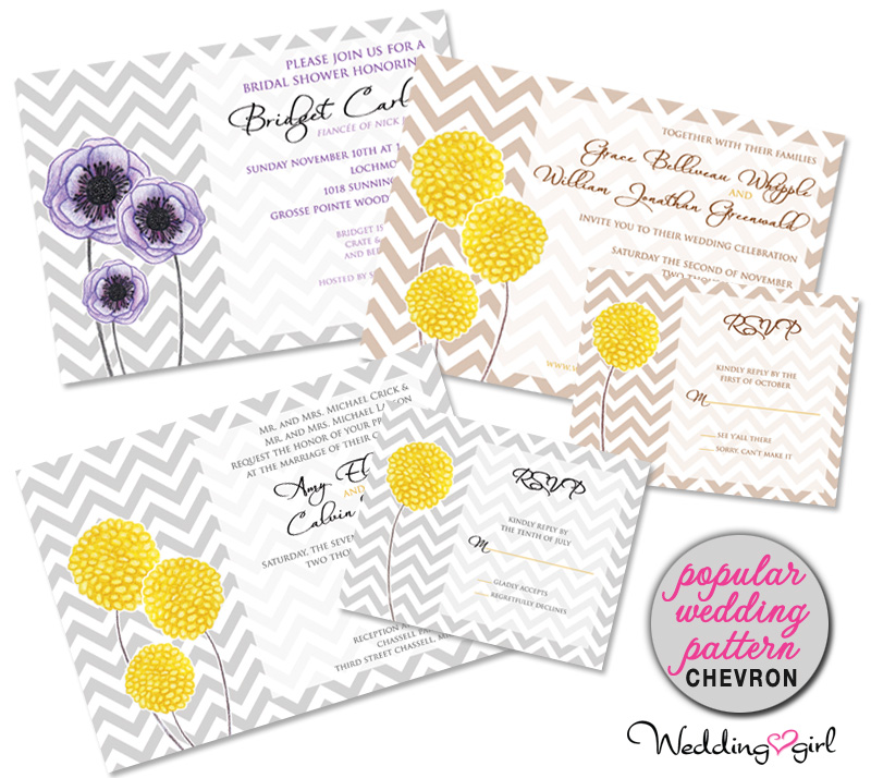 chevron wedding invitations - popular pattern
