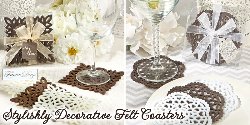 stylish and decorative felt coasters - resembles lace doilies
