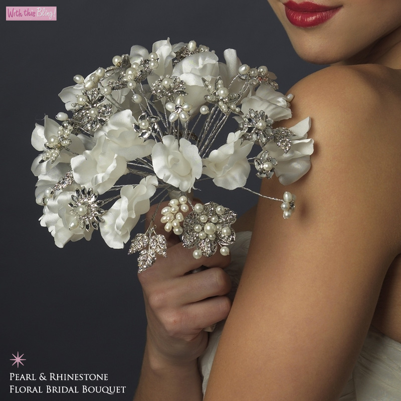 pearl and rhinestone floral bridal bouquet