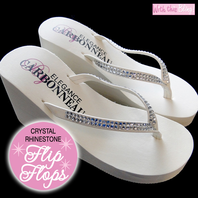 crystal rhinestone wedding flip flops