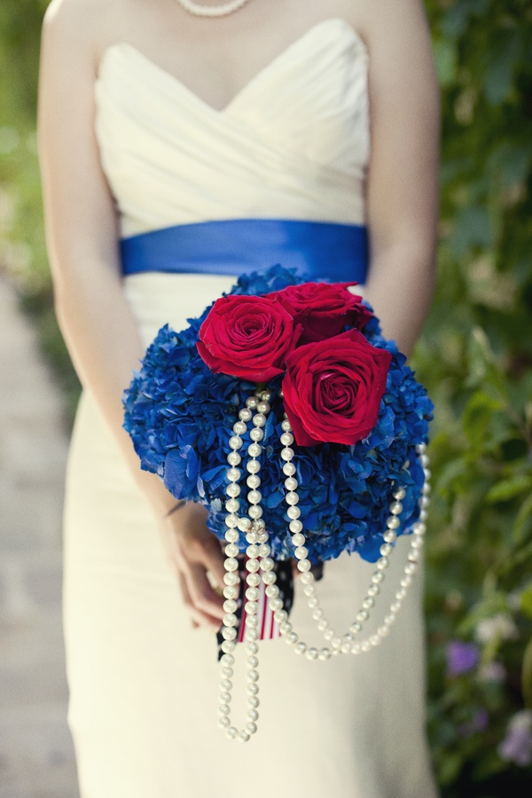 A Red, White and Blue Wedding Bouquet