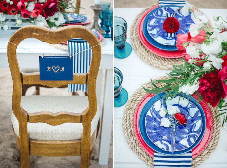 nautical table setting with rope chargers | via  Green Wedding Shoes