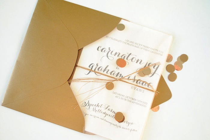 gold confetti wedding invitation from Teal Typewriter Studios