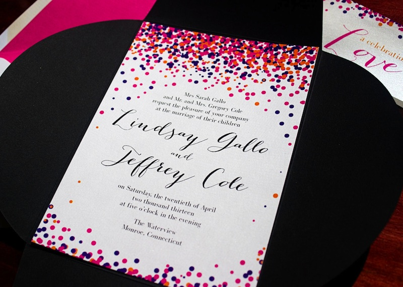 multi-colored confetti wedding invitation from Tulaloo Stationery Studio