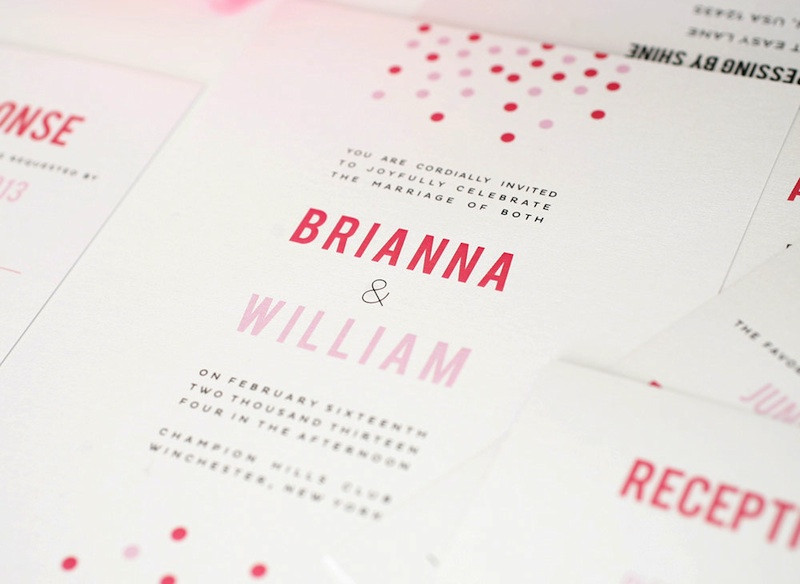 pink confetti wedding invitations from  Shine Wedding Invitations