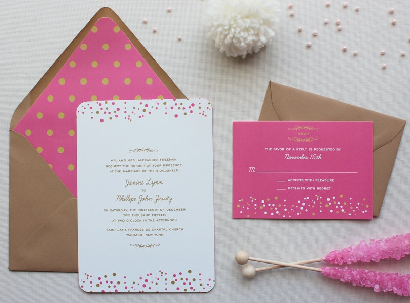 modern confetti wedding invitations from Papela