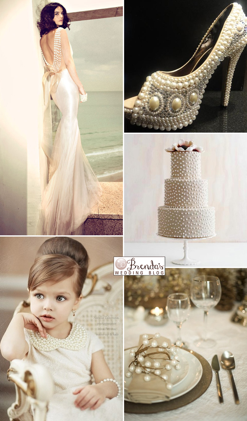 A Pearl Wedding Inspiration Board With Gold Cream A Bit