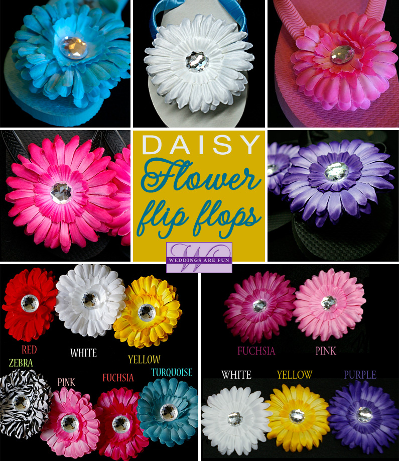 Daisy Flower Flips Flops - your choice of 9 colors from  www.WeddingsAreFun.com