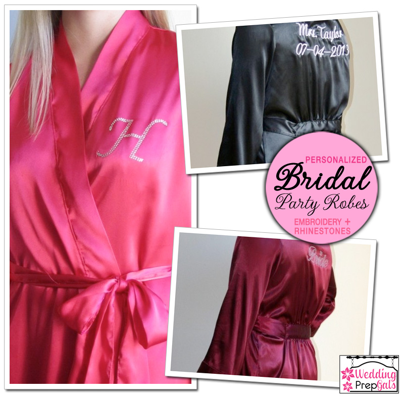 personalized bridal party robes from www.weddingprepgals.com