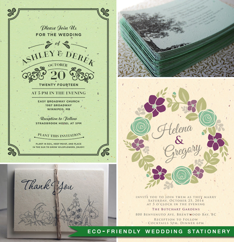 eco-friendly wedding stationery:  vintage plantable wildflower invitations ,  tree of love plantable wedding invitation ,  seed paper thank you card ,  floral wreath seasons invitation