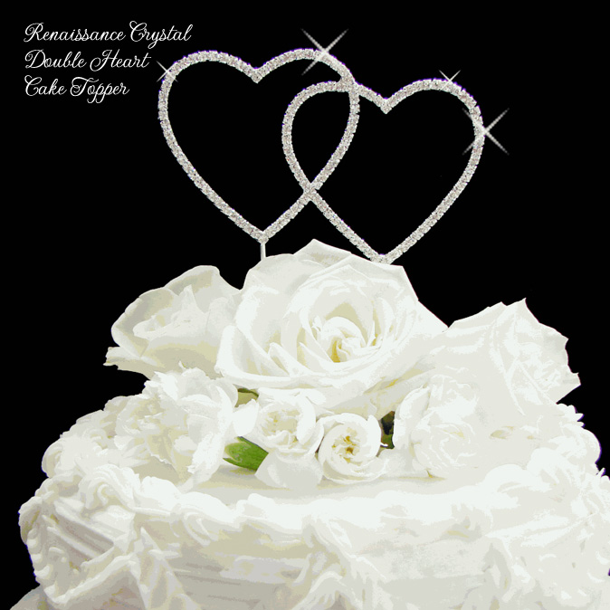 Renaissance Crystal Double Heart Cake Topper