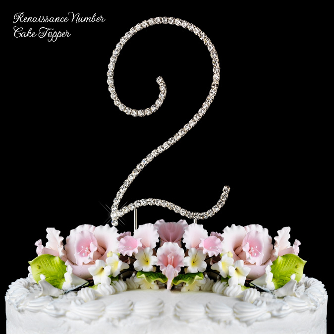 Renaissance Number Cake Topper with Crystals