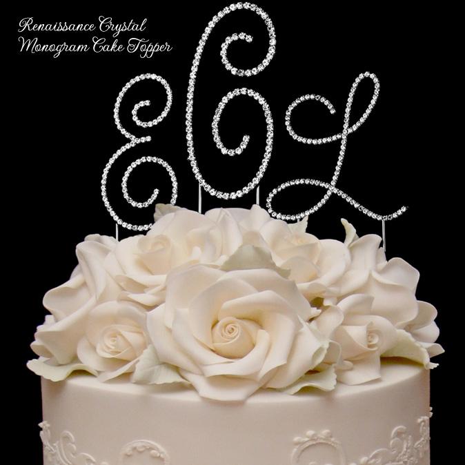 Renaissance Crystal Monogram Cake Topper