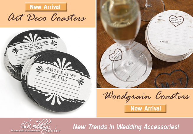 guest book alternative : wedding coasters to write on . . . art deco coasters and woodgrain design coasters