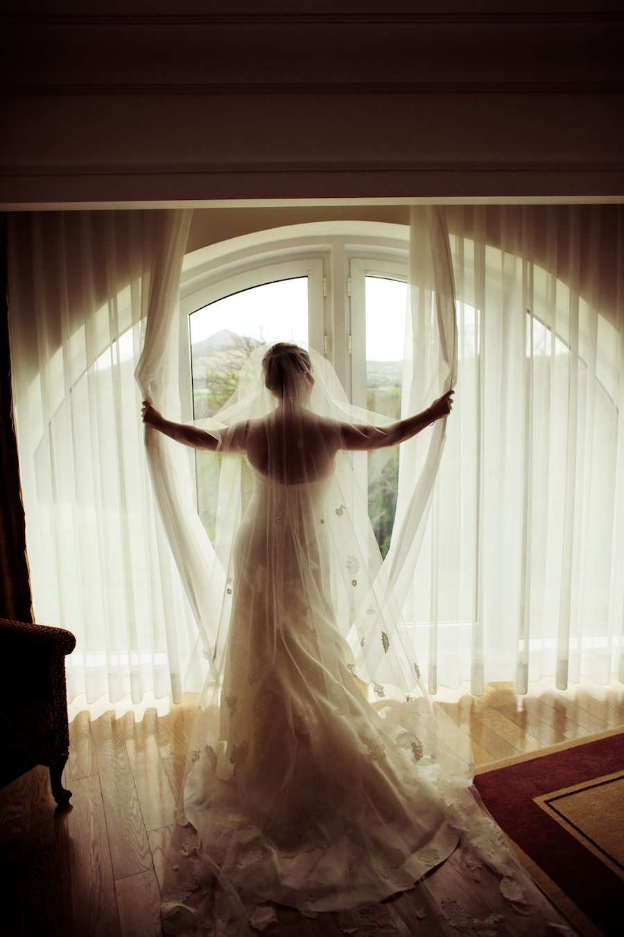 Peter Langner Wedding Gown with 10 foot long veil