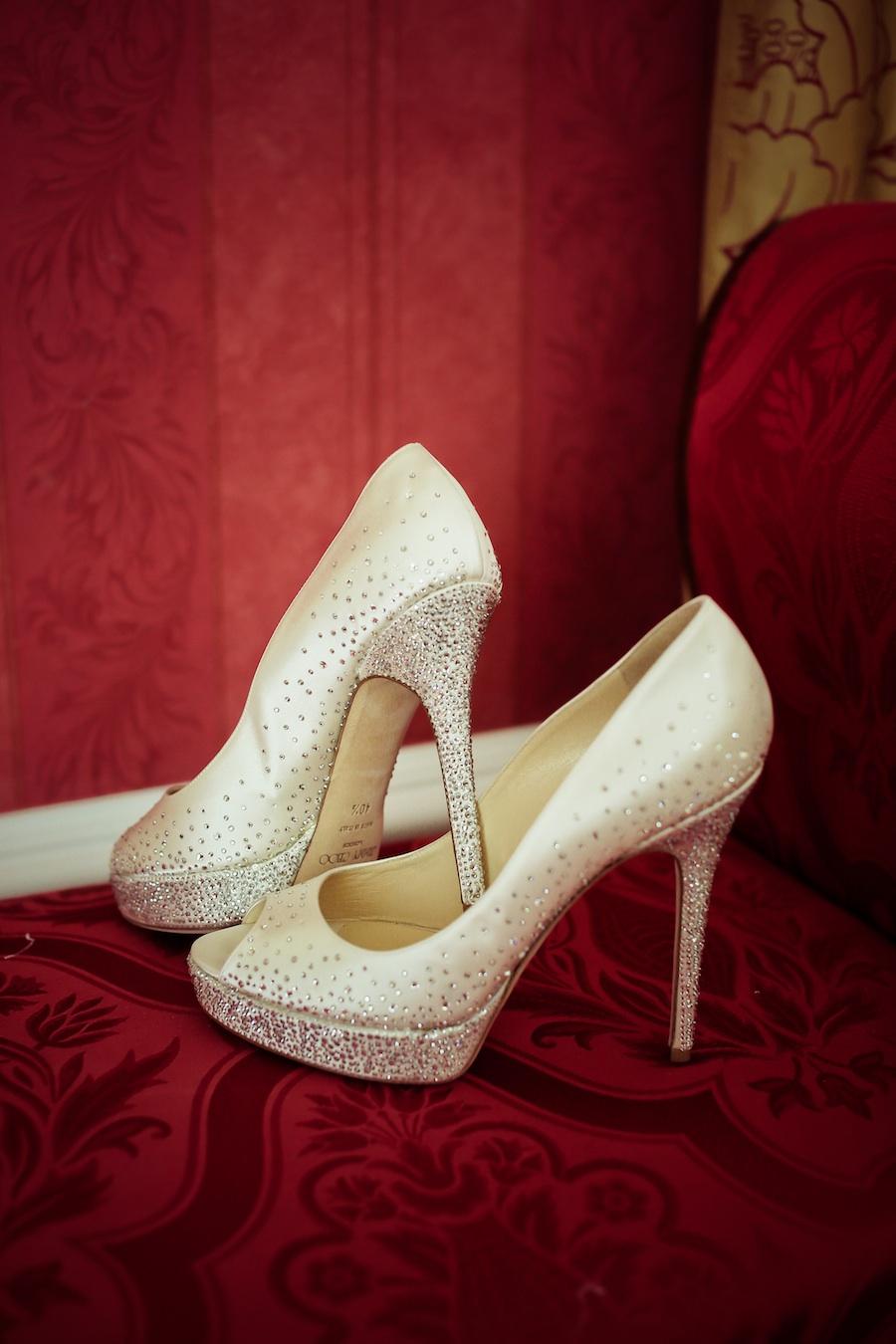 Jimmy Choo Wedding Shoes with hotfix Swarovski Crystals