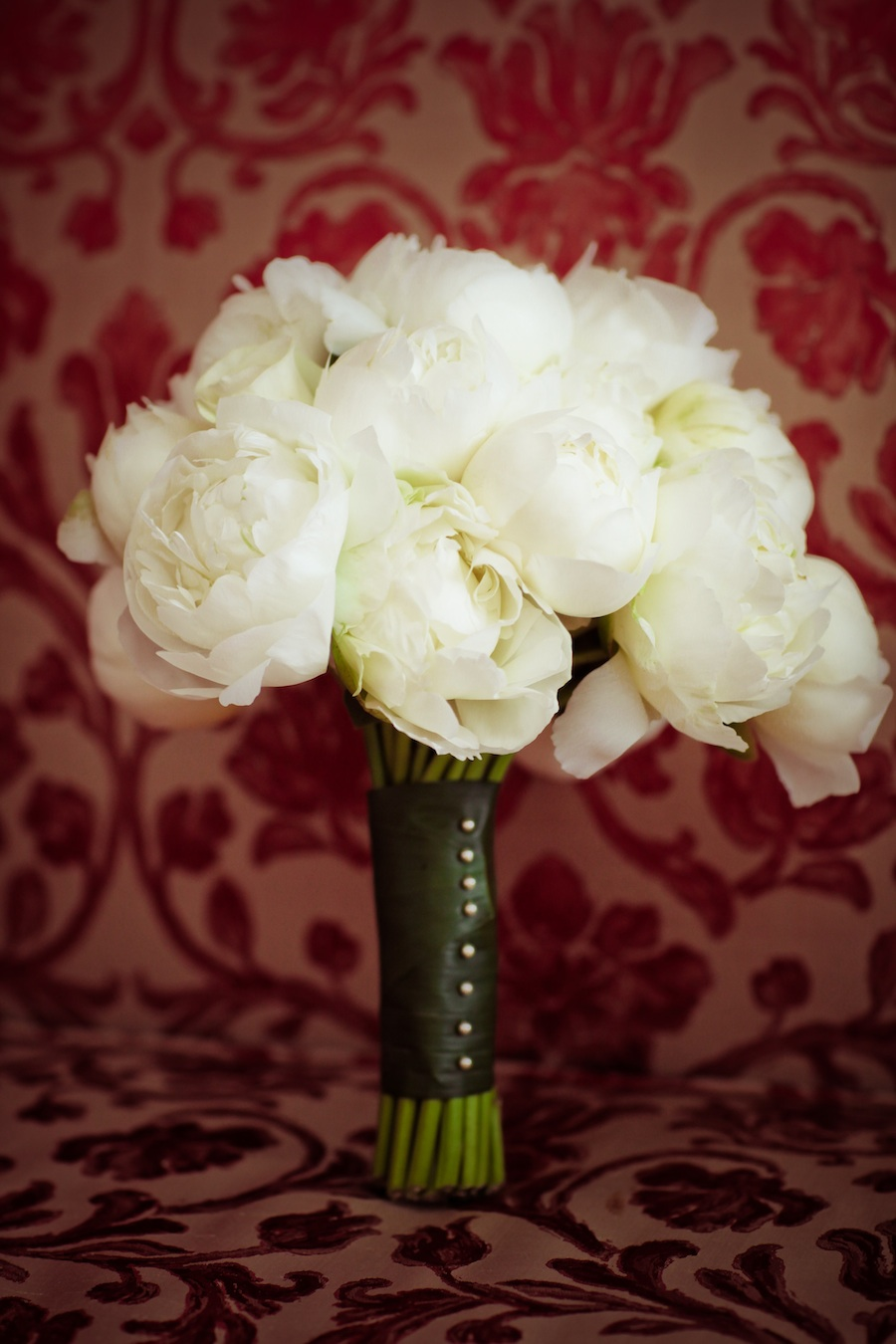 White Wedding Bouquet with peonies and roses