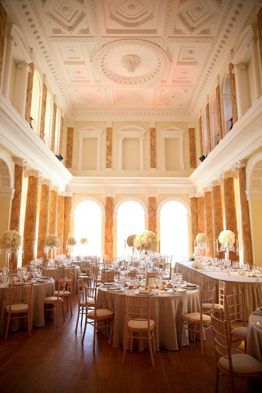 elegant reception room for a wedding in Ireland