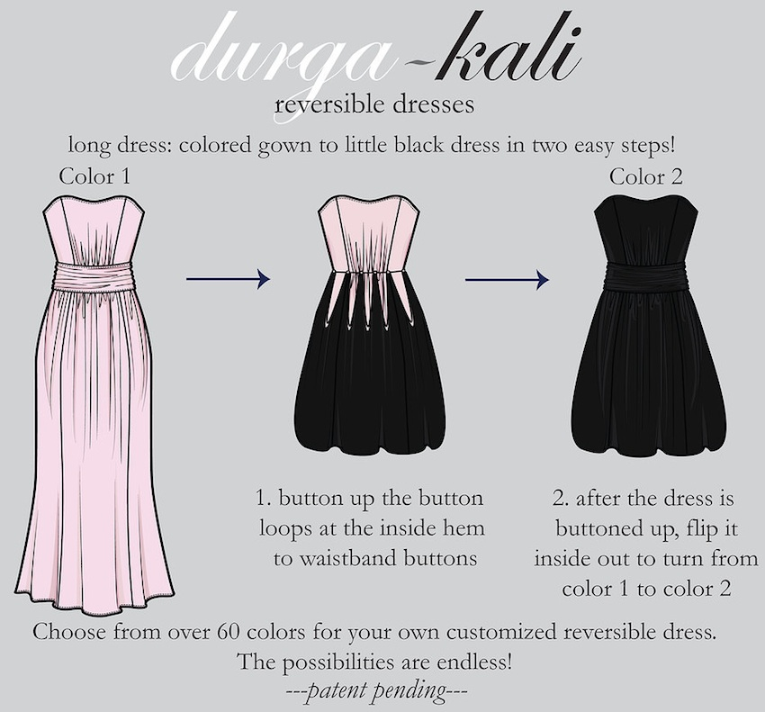 reversible dresses from Durga-Kali - go from a long colored dress to a little black dress in two easy steps