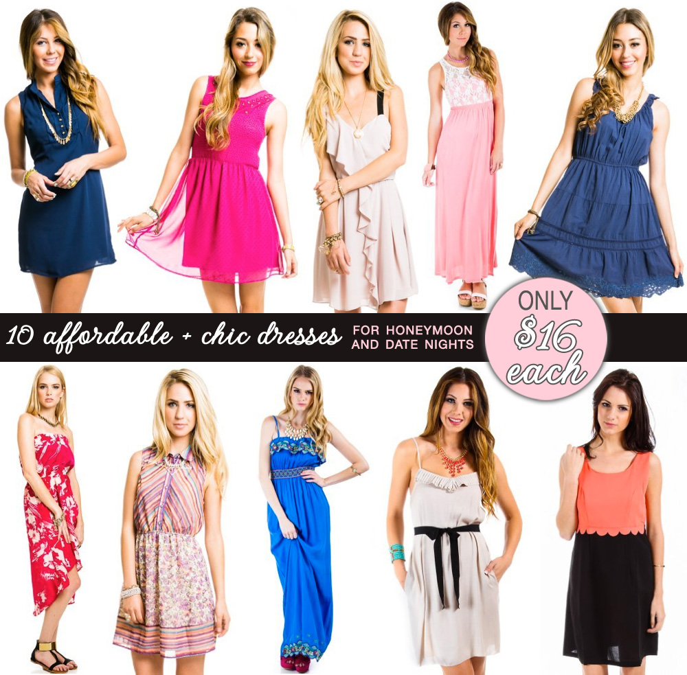 $16 dresses - perfect for the honeymoon or even date nights