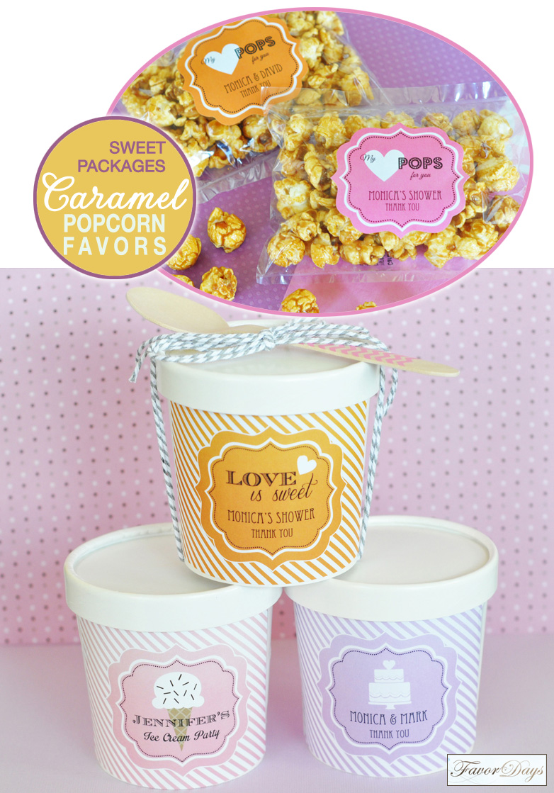 Sweet Favor Packaging : Caramel Popcorn inside of Mini Ice Cream Containers {sealed with baker's twine and a wooden chevron spoon}