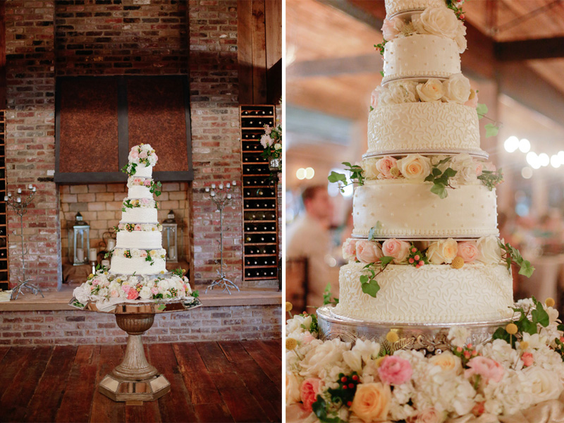 beautiful 5 tier wedding cake from a Southern wedding | photo by  www.annabellacharles.com